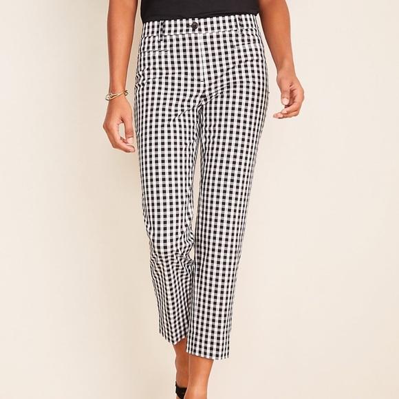 Ann Taylor The Gingham Cotton Crop Pants